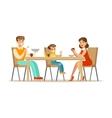 Mom Dad And Son Having Breakfast Happy Family vector image