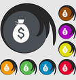 Money bag icon sign Symbols on eight colored vector image