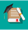paper diploma with stamp book and graduation cap vector image