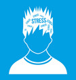 word stress in the head of man icon white vector image