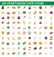 100 vegetarian cafe icons set cartoon style vector image
