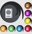 Passport icon sign Symbols on eight colored vector image