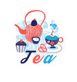 greeting card with cup of tea vector image