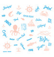 hand drawn marine elements collection vector image
