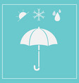 umbrella icon isolated on blue background vector image