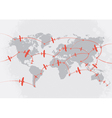 Airplanes on world map vector image