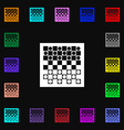 checkers board icon sign Lots of colorful symbols vector image