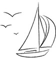 Chalk Sailboat with Birds Outline vector image