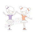 cute two girl ballerinas with tutu dress image vector image