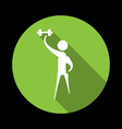 Man exercising with a weight vector image