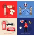 Set of England travel compositions with place for vector image