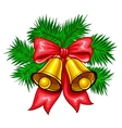 Shiny golden Christmas bells vector image