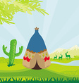 wild landscape with wigwam and wild animals vector image