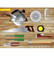 Carpentry tools on wooden texture background vector image vector image
