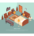 Hotel Single Room Isometric Poster vector image