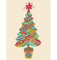 Christmas or New Year background with colorfull vector image