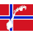 Map and flag of Norway vector image