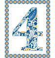 Blue number 4 vector image