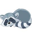 sleeping cartoon raccoon vector image vector image