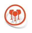 Wine glass sign sticker orange vector image