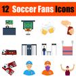 Flat design football fans icon set vector image vector image