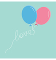 Blue and pink balloons with love thread Flat vector image