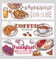 breakfast banner set vector image