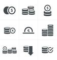 Coins Icons Set Design black color vector image