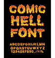 Comic Hell font inferno ABC Fire letters Sinners vector image