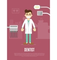 Dental office banner with dentist and equipment vector image