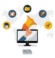 digital marketing technology remote business vector image