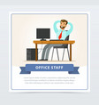 happy bearded man character sitting at the table vector image