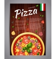 Realistic vertical pizza flyer on wood vector image