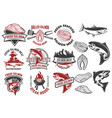 salmon meat labels and badges seafood grill fish vector image
