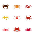 types of crab icons set cartoon style vector image