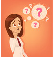confused office worker woman thinking vector image