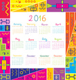 2016 calendar with frame for kids vector image vector image
