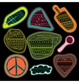 happy chalk board stickers and embroidery patches vector image