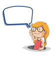 Girl holding speech bubble vector image