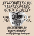 coffee shop gothic font vector image