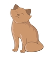 Cute cat sitting icon cartoon style vector image