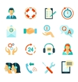 Flat Style Color Icons Of Customer Support vector image