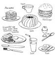 hand drawn breakfast set vector image