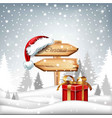 winter card with christmas wooden sign red vector image