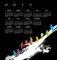 A 2017 calendar with a flock of birds vector image