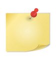 Yellow paper with pin on white background vector image vector image