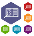 magnifying glass over open book icons set vector image