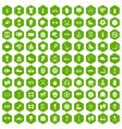 100 sport accessories icons hexagon green vector image