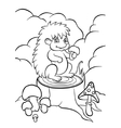 little hedgehog on the stump in forest vector image