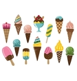 Colorful ice cream icons vector image